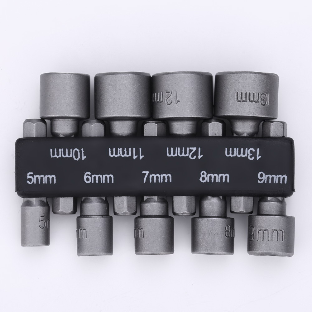 9 pcs Nut Driver Set Socket Adapter 5mm-19mm Hex Socket Sleeve Nozzles Drill Bit Adapter Hex Power Tools TH4 5pcs hex socket sleeve nozzles strong magnetic nut driver set drill bit adapter wind approved sleeve electric 12mm 14mm