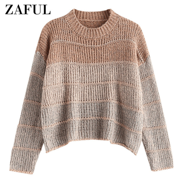 ZAFUL Casual Loose Jumper Chunky Knitted Sweater Pullovers Women O Neck Elastic Sweaters Loose Female Clothing