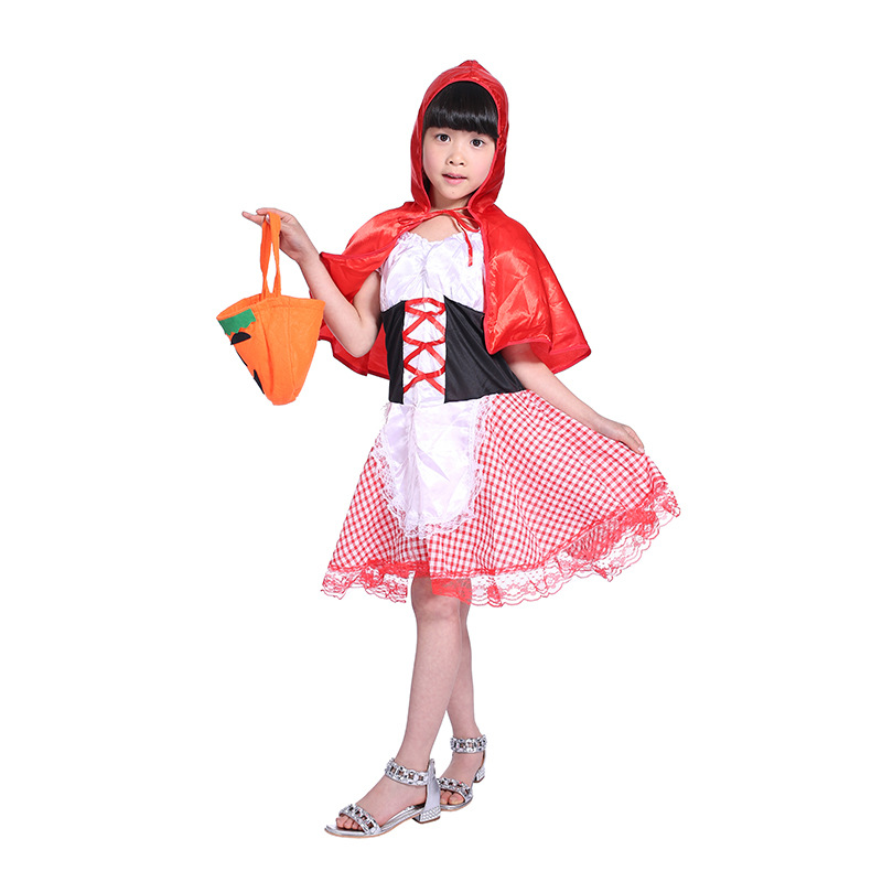 Halloween Kids Cute Fancy Dress Little Red Riding Hood Costume cosplay Party Outfit With Shawl For Primary Children