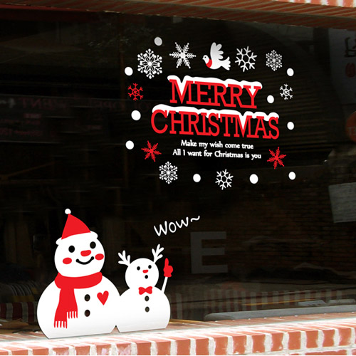 Snowman Christmas Glass Wall Sticker Quote Merry Christmas Snowflakes  Christmas Wall Sticker Shop Window Glass Home