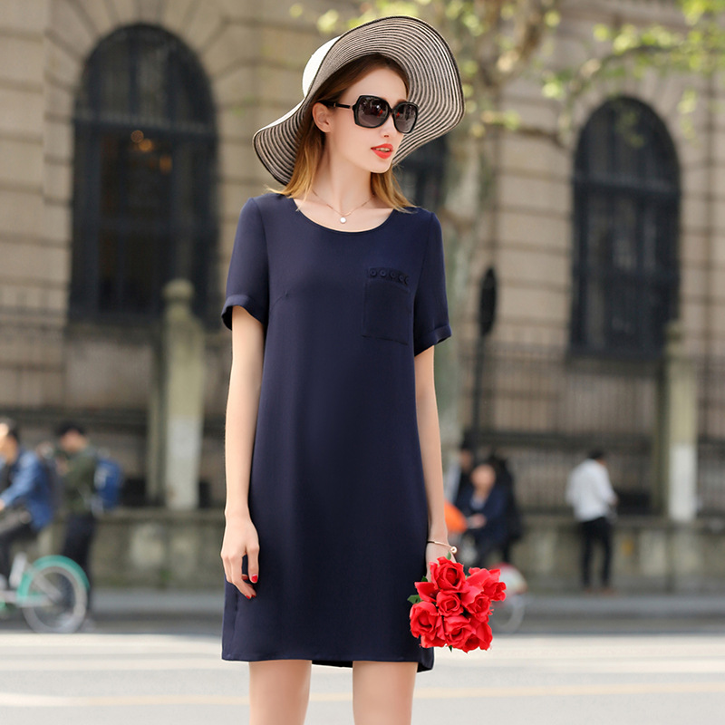High Quality Dress Women 100 Heavy Silk Simple Design O Neck Pockets Short Sleeves 3 Colors