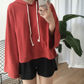 Women Hoodies Sweatshirts 2017 Spring Japanese Casual Loose Flare Sleeve Hoody Pullovers Pink Black White Red sweat femme T149