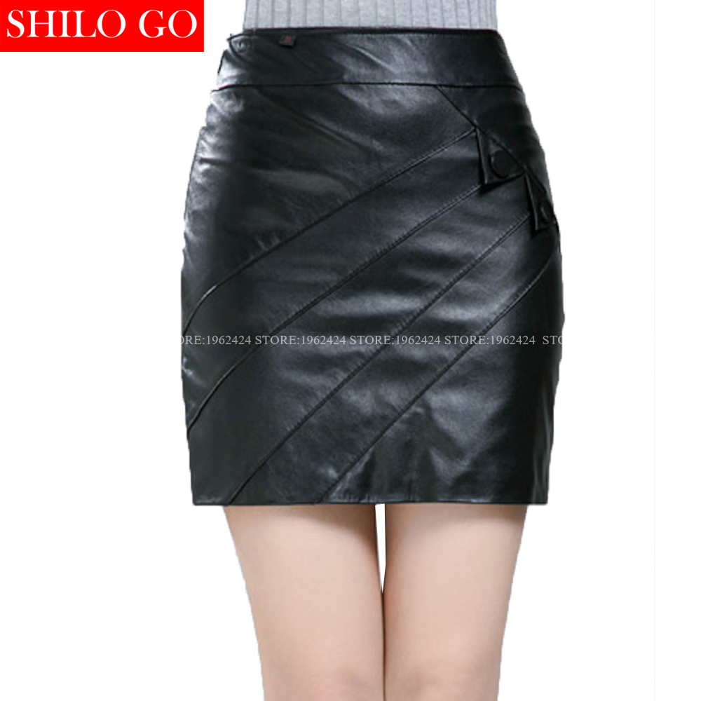 SHILO GO New Fashion Street Women Formal Sexy Empire Leather Shorts sheepskin Genuine Pencil Skirt Ladies office pencil Skirt women s maxi pencil skirt in pu leather