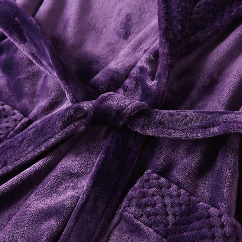 女性男性エキストラロングプラスサイズ暖かいサンゴフリースバスローブ冬の熱フランネルドビー着物バスローブ花嫁介添人ガウン