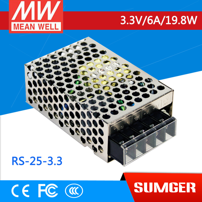 ФОТО [Freeshiping 2Pcs] MEAN WELL original RS-25-3.3 3.3V 6A meanwell RS-25 3.3V 19.8W Single Output Switching Power Supply