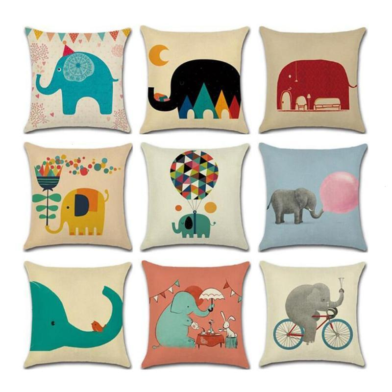 Cushion cover Cartoon baby elephant linen/cotton character design pillow case Home decorative pillow cover seat pillow case 3