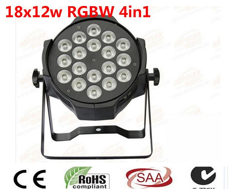 8 unids LED par 18x12 W RGBW 4in1 Quad LED Par Can dj Par64 spotlight proyector iluminacion de la etapa de lavado luz de luz