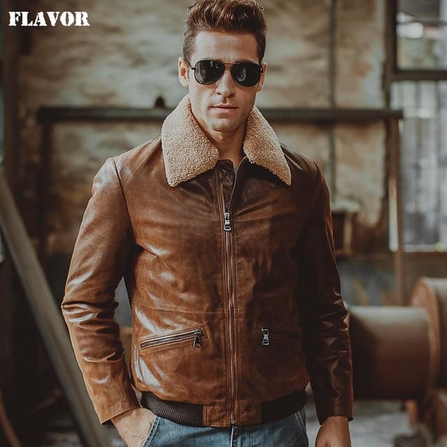 3 colors Men's real leather jacket pigskin Genuine Leather motorcycle jacket air force flight jackets aviator coat men
