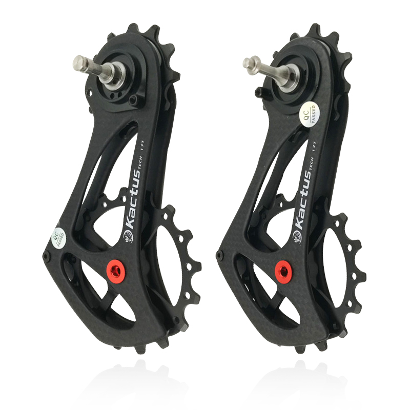 Vélo vélo arrière dérailleur Cage poulie fibre de carbone 17 T pour SRAM RIVAL FORCE rouge ETAP léger en céramique roulement Jockey roue