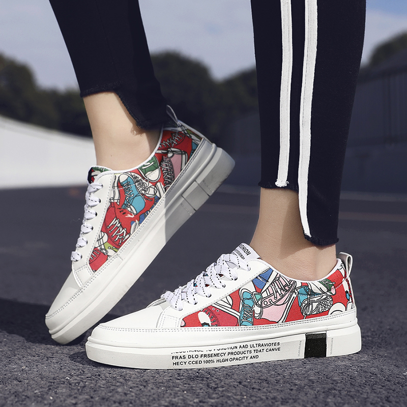 Men 39 s canvas graffiti shoes trend wild casual tide shoes student shoes simple loafers C4 in Men 39 s Casual Shoes from Shoes