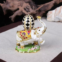 Cute Elephant Jeweled Trinket Box Elephant Box with Faberge Egg on Back
