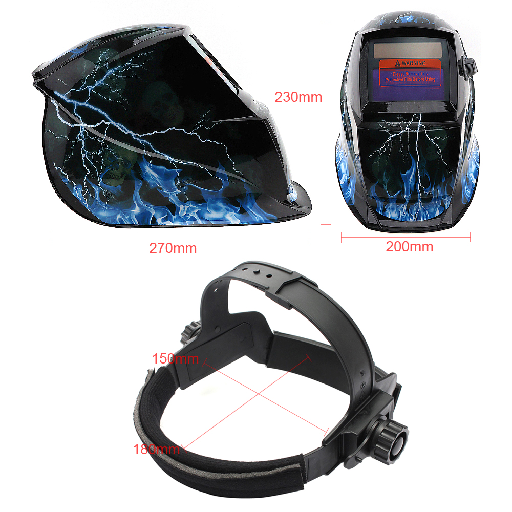 Lightning-skull Adjust Solar Auto Darkening TIG MIG Grinding Welding Helmets / Face Mask / Electric Welding Mask / Weld Cap