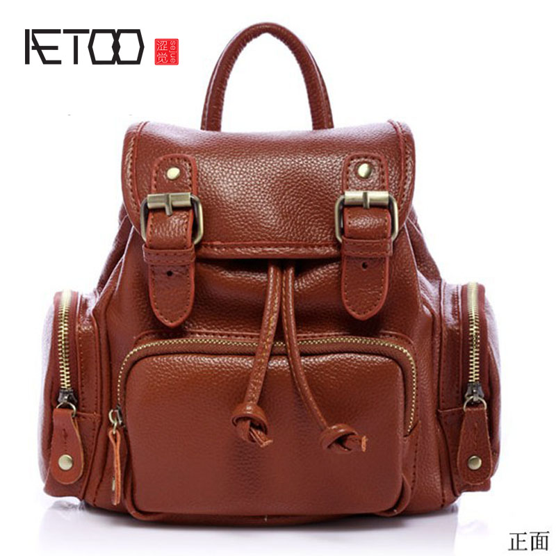 AETOO Korean version of the backpack leather ladies bag black shoulder fashion package qiaobao 2018 new korean version of the first layer of women s leather packet messenger bag female shoulder diagonal cross bag