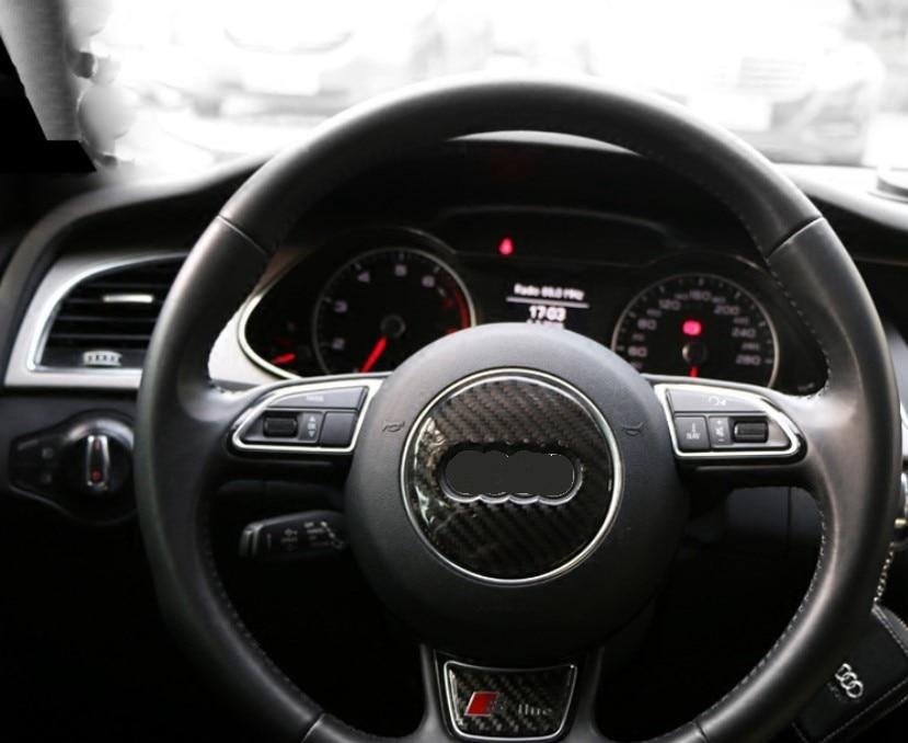 Car Carbon Fiber Steering Wheel Logo Sticker Frame Cover For Audi A1 A3 A4 A5 A6 A7 Q3 A6 C7 Q5 A8 Q7 B6 B7 Auto Accessories