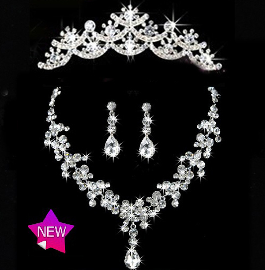 2017 New Arrival Water drop Crystal Bridal Jewelry Setss Fashion Rhinestone Necklace sets for Bride Wedding dress accessories