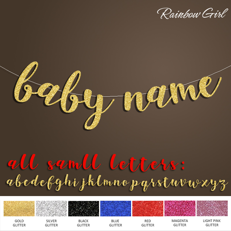 Baby ar personalizētu nosaukumu reklāmkarogs, zēns vai meitene dzimšanas dienas svinības, bērnu dušas paziņojums zelta mirdzēt rotājumi piederumi