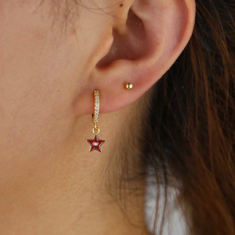 Красный цвет синий, черный; Большие размеры 34–43 белый разноцветной эмалью star серьги с шармом, подвеской Классический Геометрические серьги-капельки для женщин