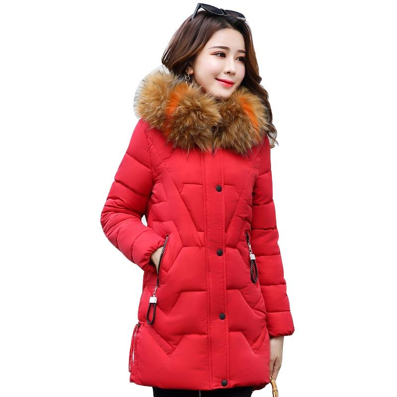 Женское пальто с меховым воротником, длинная стеганая парка с капюшоном, зимняя верхняя одежда, 2019