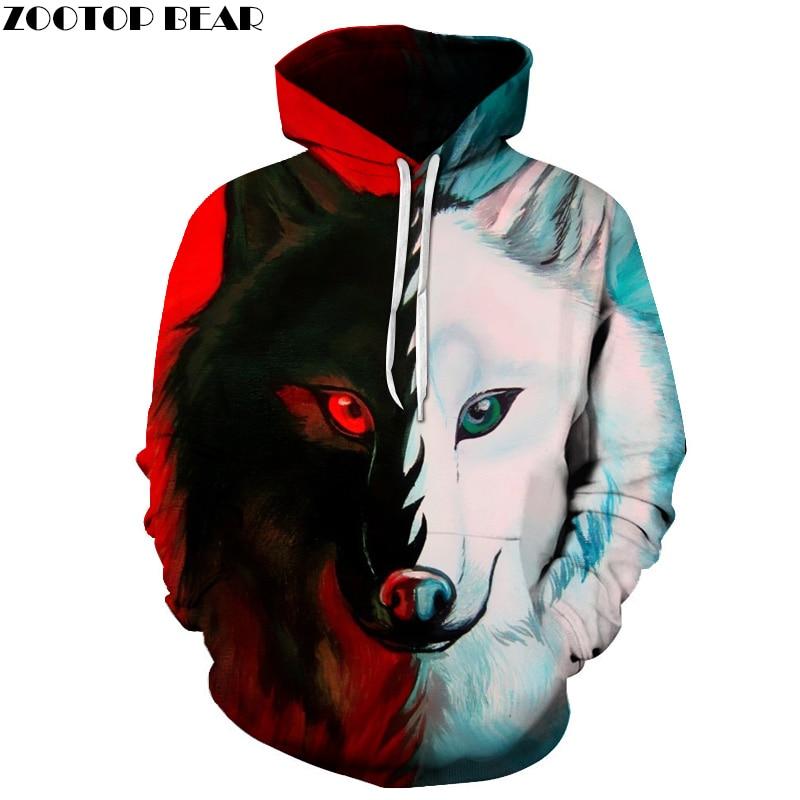 Different pupil Wolf Hoodies Sweatshirts