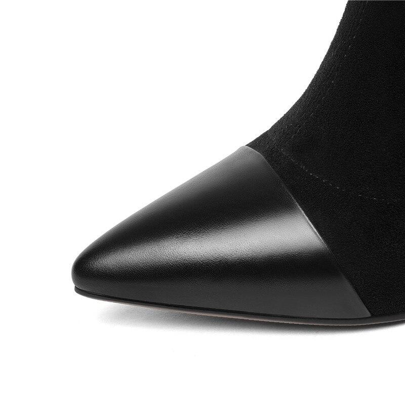 2019 Fino De Black Otoño Invierno Vaca Dedo Talón Cuero Las negro Felpa Esrfiyfe Pie Botas Genuino Corta Suede Del Punta Nueva Mujeres dnRdY4