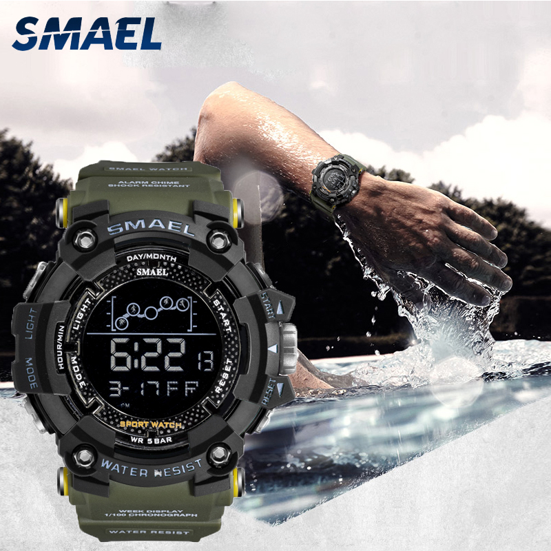 Digital Watch Swimming 50M Waterproof SMAEL LED Watches Digital Timing Week Display Alarm Clock 1802 Men Watches Sports relogio