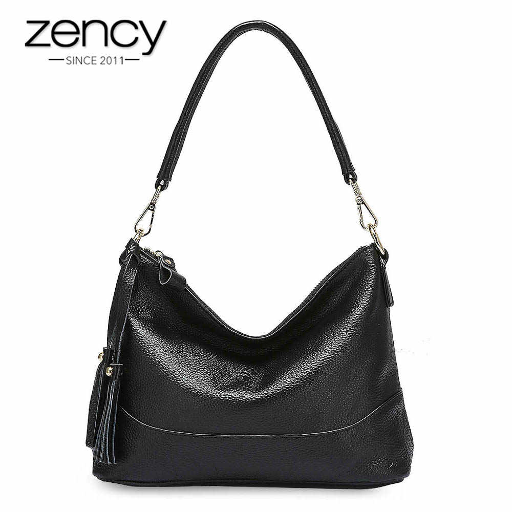 Zency Fashion Hobos 100% Сумка из натуральной кожи женская сумка через плечо черная серая Женская сумка через плечо высокого качества