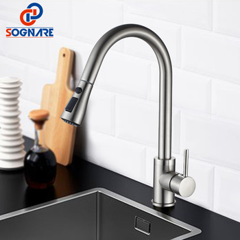 цена на SOGNARE Pull Out Kitchen Faucet Newly Design 360 Swivel Solid Brass Hot and Cold Single Hole Handle Water Tap Kitchen Sink Mixer