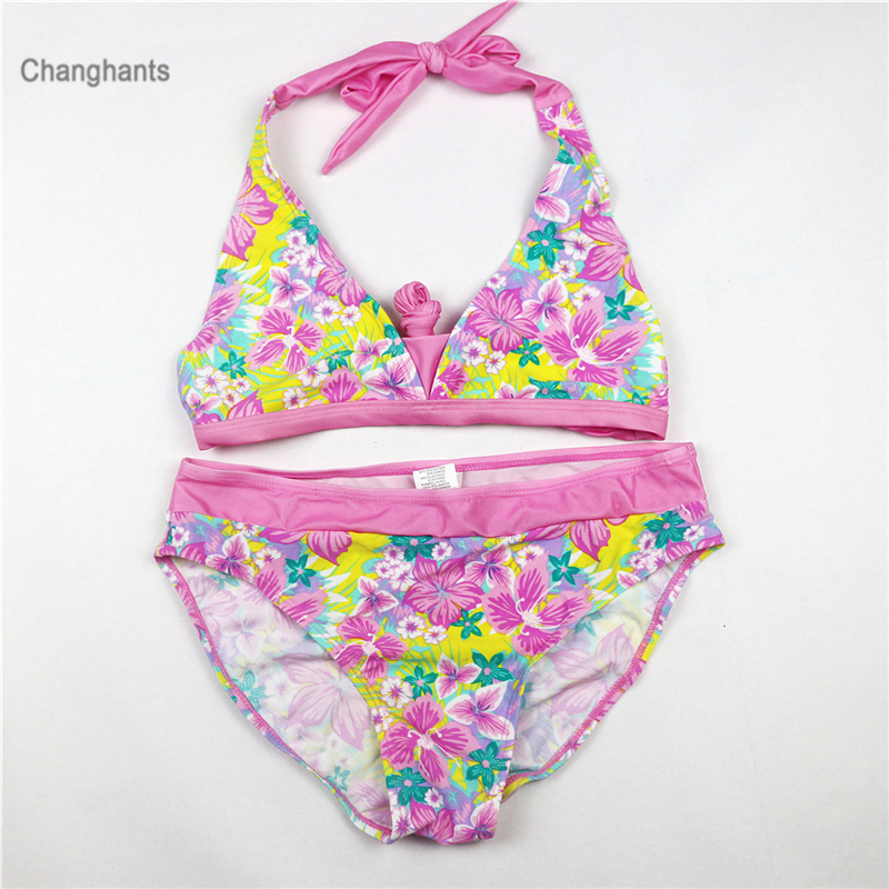 Womens Floral Swimsuit Swimwear Long Sleeve Bikini Set Swimming Costume UK 6-16