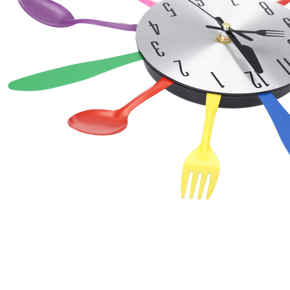 Cutlery Design Wall Clock Metal Colorful Knife Fork Spoon Kitchen ...