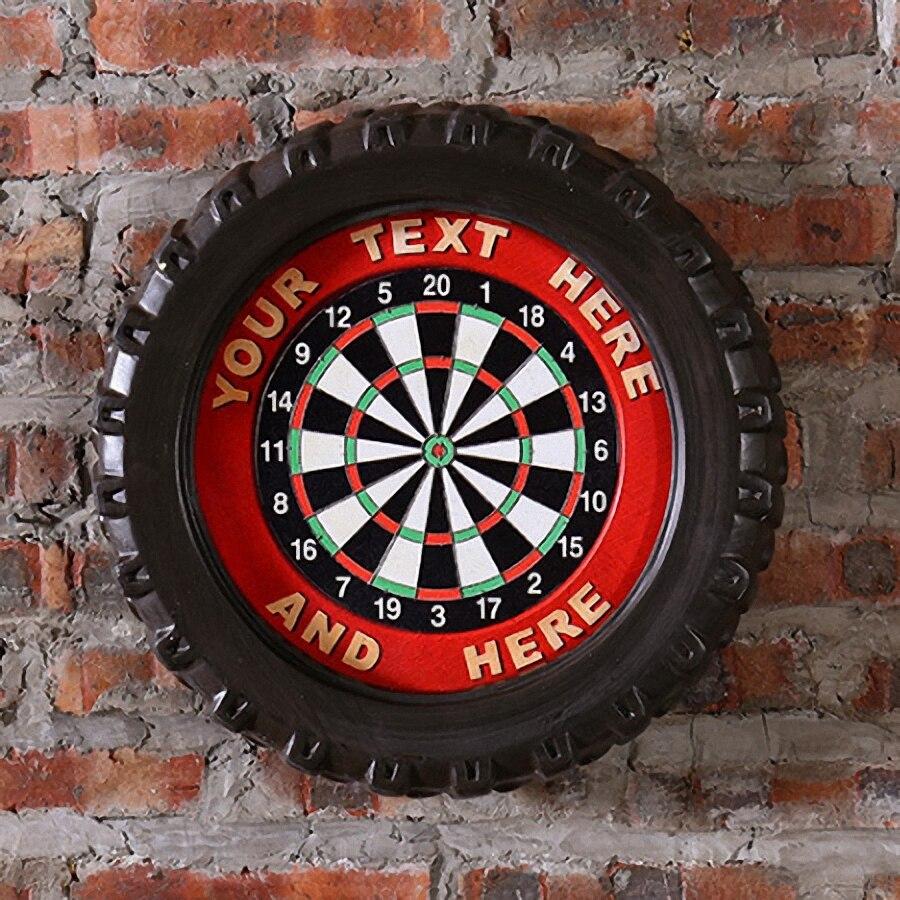 Votre texte ici grande voiture pneus MDF moussant signe Vintage bois peinture café Bar décor rétro Mural Poster Mural autocollant 40X40X7 CM