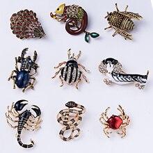 RINHOO модная разноцветная Брошь со стразами-кристаллами ручной работы для собак, змей, животных, булавка для женщин и мужчин, бижутерия, рождественский подарок