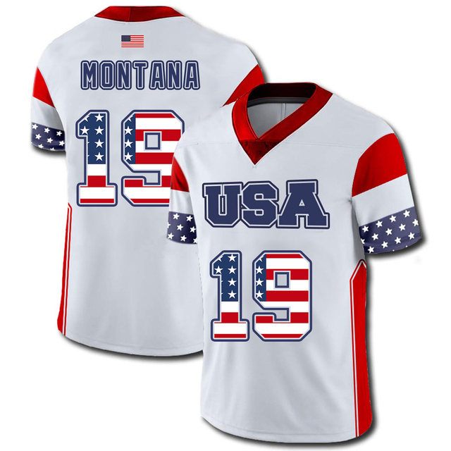 competitive price 50d08 3378e US $36.98 |Mens American Football USA Flag Team Jersey 19 Joe Montana  Jerseys Print Name And Number No Fade-in America Football Jerseys from  Sports & ...