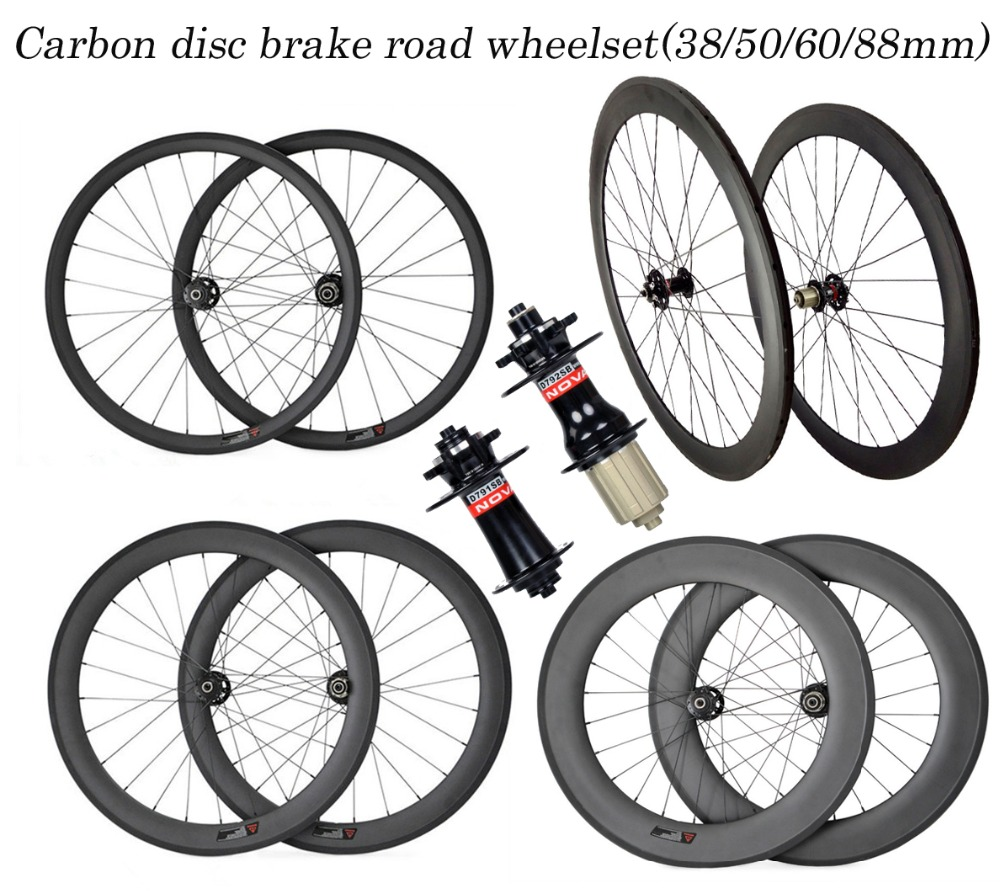 Excellent quality carbon wheels!durable 700C 38 50 60 88mm tubular clincher tubeless road bike wheelset Disc brake custom decals