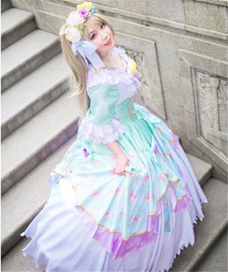 Anime Love Live Minami Kotori Dancing Party Awaken Dress Halloween Lolita Cosplay Costume Cos Free Shipping Dress+Headdress lolita princess roll split cosplay costume wig 65cm chip on synthetic cos hair free shipping