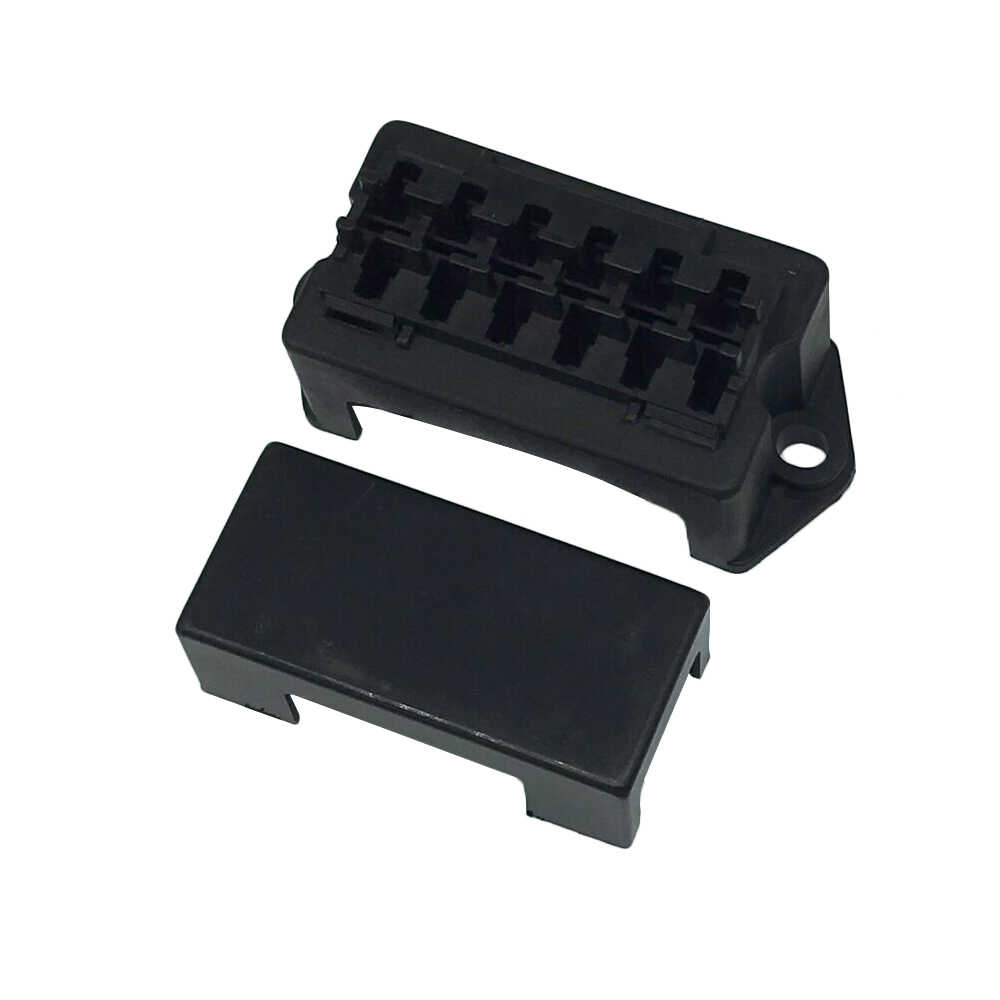 Double Row 6 Road Medium Auto Relay Fuse Box with 12pcs Terminals BX2061 Car Insurance Holder for cars, electric cars