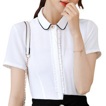 Vogue summer Ladies tops office white blouse short sleeve shirt blue cotton chiffon elegant blazer formal suits plus size 2019(China)