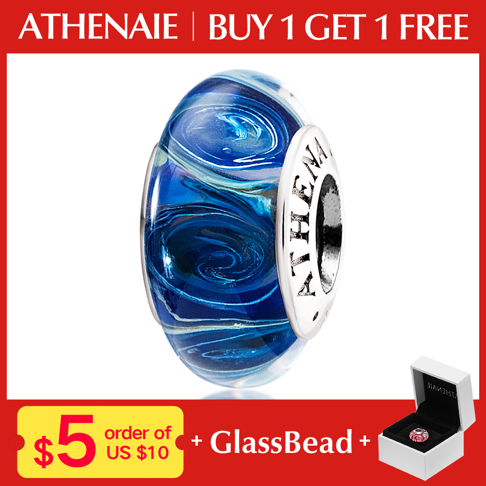 ATHENAIE Genuine Murano Glass 925 Silver Core Galaxy Charms Bead Fit European Bracelet & Necklace For Women DIY Jewelry
