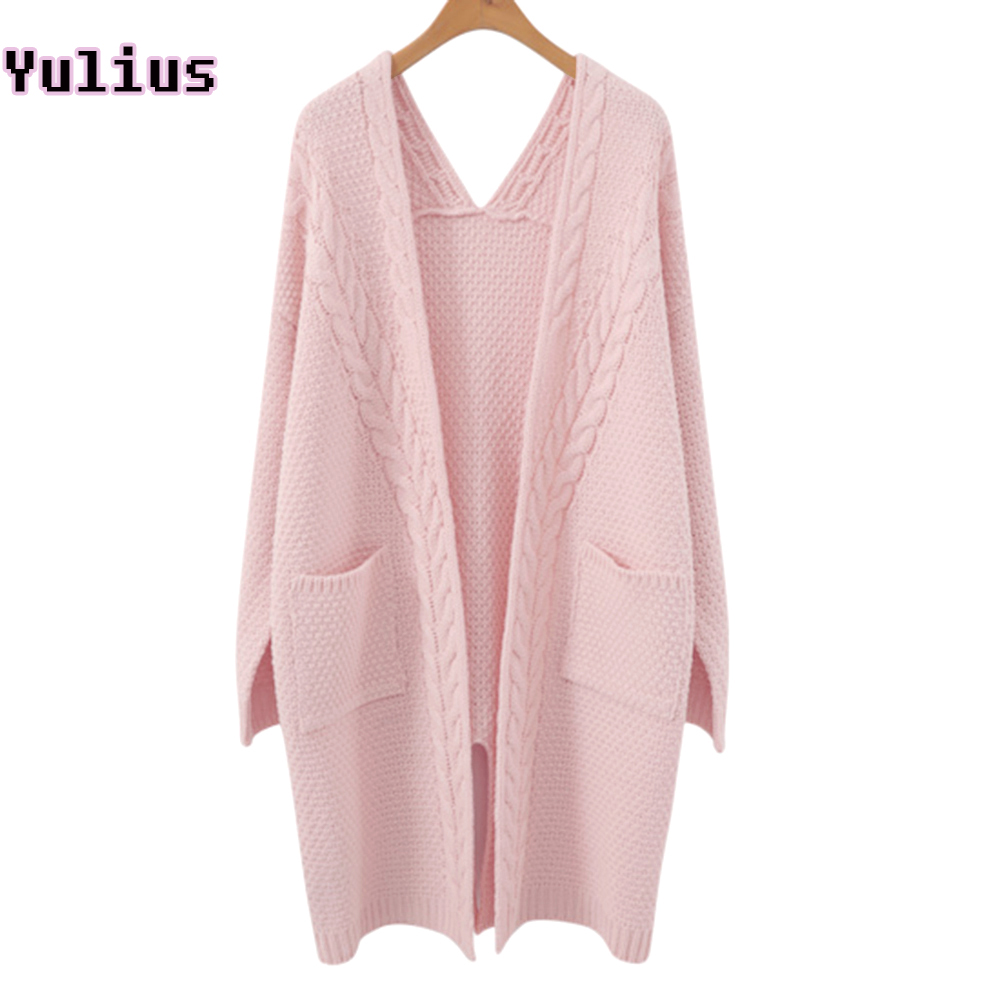 a4c969b3cafc Girl Casual Long Knitted Cardigan 2019 Autumn Winter Women Twisted Flowers  Solid Pocket Design Sweater Jacket