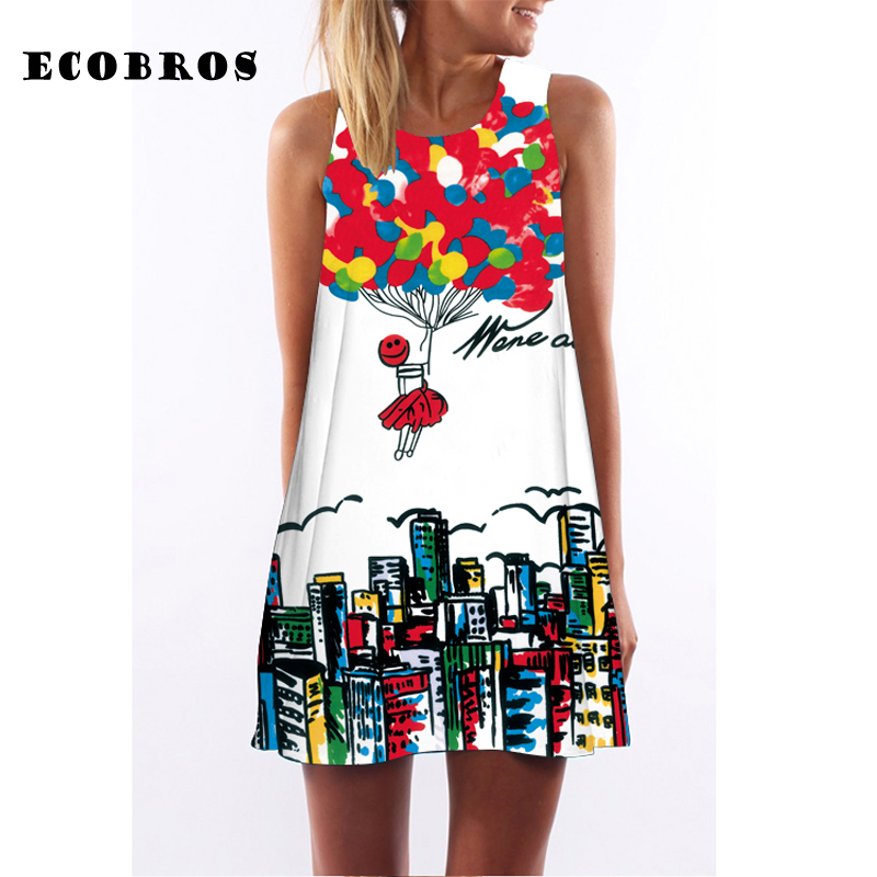 ECOBROS 2019 New Women Summer Dress casual sleeveless Loose floral print mini dresses plus size woman clothing dress