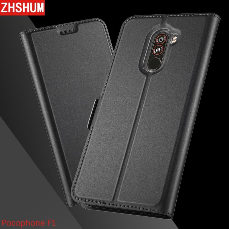 Luxury Flip Case for Xiaomi Pocophone F1 Poco PU Leather Magnetic Pocket Kickstand Bumper Case 360 Full Back Cover Poco F1 F 1