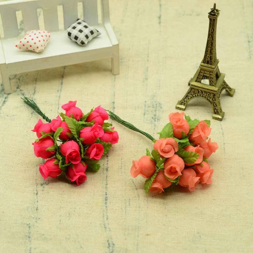 12 Pcs Sutra Mawar DIY Natal Karangan Bunga Vas Bunga untuk Rumah Pernikahan Dekorasi Aksesoris Murah Buatan Bunga Plastik