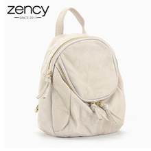 Zency Famous Brand 100% Genuine Leather Small Women Backpack Vintage School Book Bags for Girls Travel Knapsack Fashion
