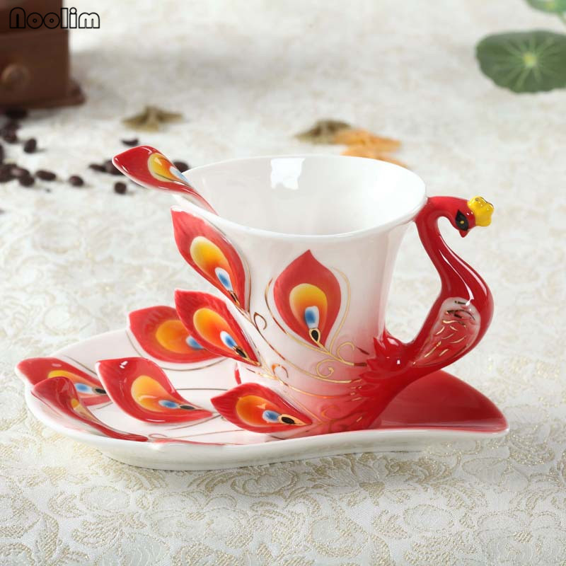 NOOLIM 1 Pcs Peacock Coffee Cup Ceramic Creative Mugs Bone China 3D Color Ceramic Cup with Saucer and Spoon Coffee Tea Sets