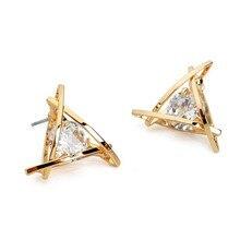 European Luxury Austrian Crystal Zircon Gold Triangle Earrings For Women 2016 Fashion High-end Elegant Stud Earrings Gifts E296