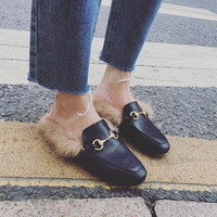 Bailehou Brand Slip On   Slippers   Flat Women Shoes Fur Mules Female Slides Ladies High Quality Lady Outside   Slippers   Woman Shoes