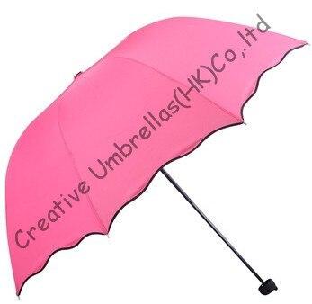 Fleur d'eau imprimée, pongé 90 T, 100% parasol, changement de couleur, parapluies manuels de forme arquée, trois fois, parasols fashional