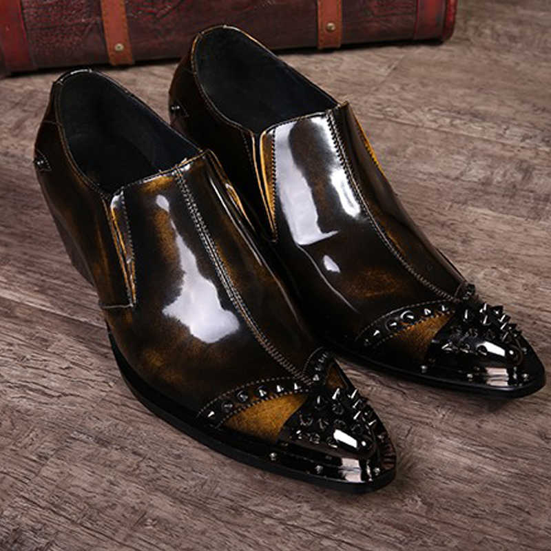 luxury mens dress shoes genuine leather pointed toe vintage fashion rivets wedding shoes men high heels office business brogues