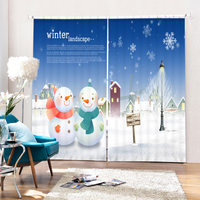 New Europe Cartoon 3D Blackout Curtains For Living Room Christmas Snowman Pattern Polyester Children Curtains Window