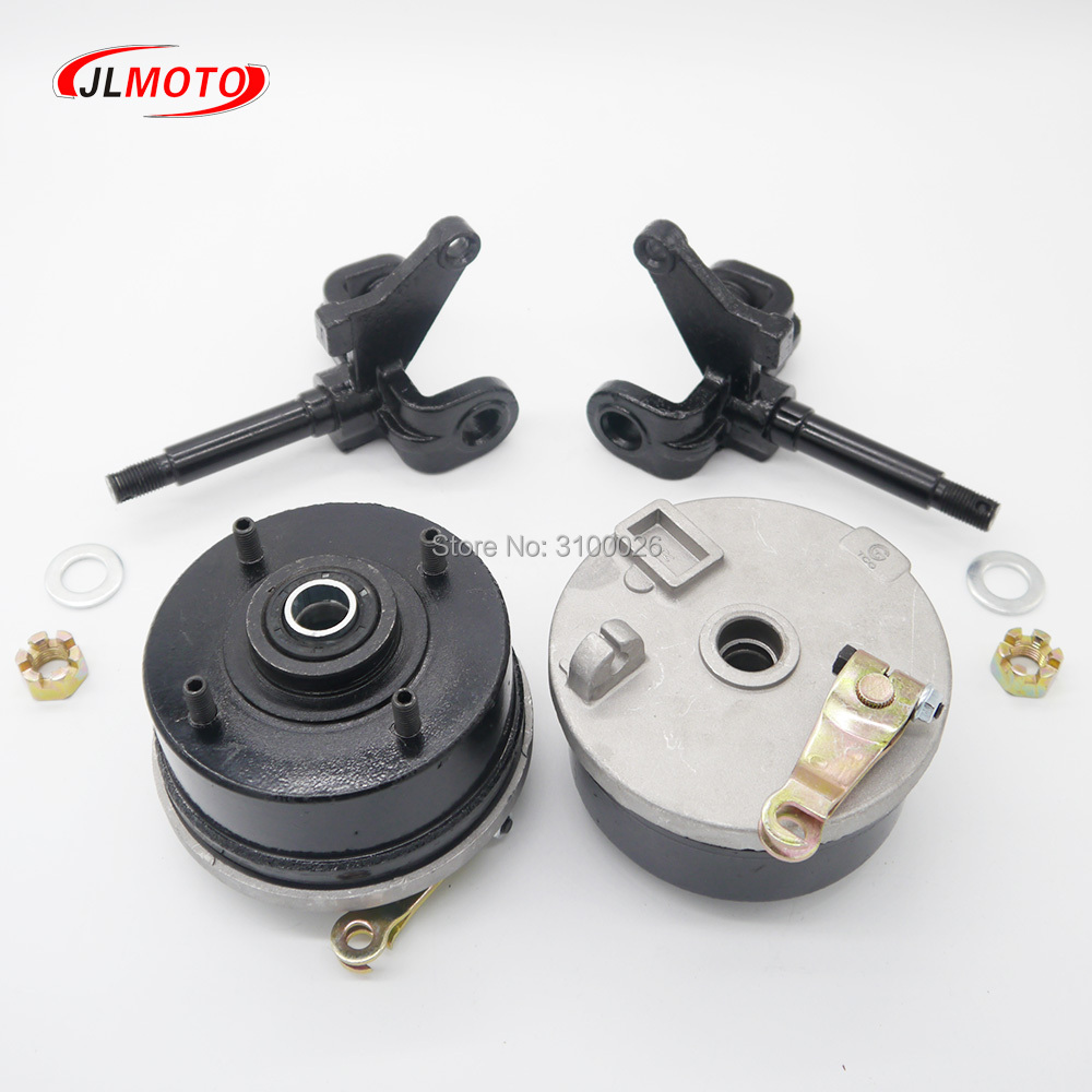 1Pair/2pcs Steering Strut Knuckle Spindle With Drum Brake Wheel Hub Fit For ATV Vehicle 150cc 200cc 250cc Go Cart Buggy Parts former small four wheel atv tuning parts wishbone suspension knuckle steering column lever kit claw