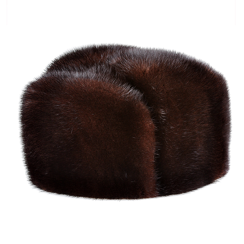 Top Real-Mink-Fur Winter LUXURY Caps Bomber-Hat Genuine-Marten-Head Warm Male for Dad